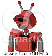Tomato Red Droid With Rounded Head And Dark Tooth Mouth And Visor Eye And Double Led Antenna