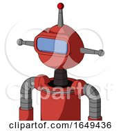 Tomato Red Droid With Rounded Head And Large Blue Visor Eye And Single Led Antenna