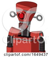 Tomato Red Droid With Vase Head And Vent Mouth And Cyclops Eye