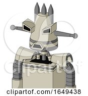 Tan Mech With Cone Head And Sad Mouth And Angry Eyes And Three Spiked