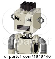 Tan Mech With Box Head And Keyboard Mouth And Angry Eyes And Pipe Hair