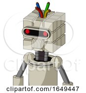 Tan Mech With Cube Head And Speakers Mouth And Visor Eye And Wire Hair