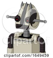Tan Mech With Droid Head And Keyboard Mouth And Black Glowing Red Eyes And Three Spiked