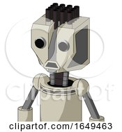 Tan Mech With Mechanical Head And Sad Mouth And Two Eyes And Pipe Hair