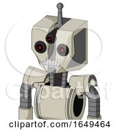 Tan Mech With Mechanical Head And Teeth Mouth And Three Eyed And Single Antenna