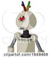 Tan Mech With Rounded Head And Sad Mouth And Angry Cyclops Eye And Wire Hair
