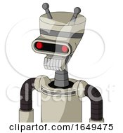 Tan Mech With Vase Head And Teeth Mouth And Visor Eye And Double Antenna