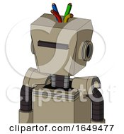 Tan Robot With Box Head And Black Visor Cyclops And Wire Hair