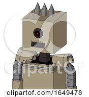 Tan Robot With Box Head And Dark Tooth Mouth And Black Cyclops Eye And Three Spiked