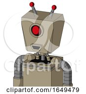 Tan Robot With Box Head And Happy Mouth And Cyclops Eye And Double Led Antenna