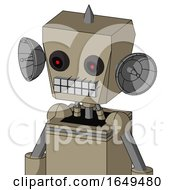 Tan Robot With Box Head And Keyboard Mouth And Black Glowing Red Eyes And Spike Tip
