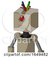 Tan Robot With Box Head And Toothy Mouth And Angry Cyclops Eye And Wire Hair