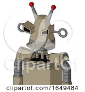 Tan Robot With Cone Head And Pipes Mouth And Angry Eyes And Double Led Antenna