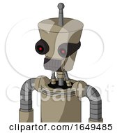 Tan Robot With Cylinder Conic Head And Dark Tooth Mouth And Black Glowing Red Eyes And Single Antenna