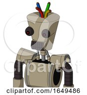 Tan Robot With Cylinder Conic Head And Dark Tooth Mouth And Red Eyed And Wire Hair