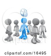 One Blue Person In A Group Of Gray People Thinking Up A Creative Idea With Gears Over His Head Clipart Illustration Graphic