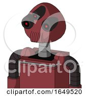 Red Mech With Rounded Head And Speakers Mouth And Three Eyed