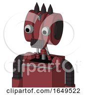 Red Mech With Multi Toroid Head And Dark Tooth Mouth And Two Eyes And Three Dark Spikes