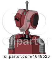 Red Mech With Multi Toroid Head And Happy Mouth And Angry Eyes And Single Antenna
