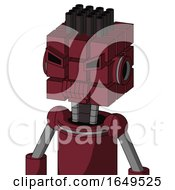 Red Droid With Cube Head And Toothy Mouth And Angry Eyes And Pipe Hair
