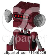 Red Droid With Cube Head And Toothy Mouth And Visor Eye