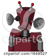 Red Droid With Cylinder Conic Head And Round Mouth And Red Eyed And Double Led Antenna