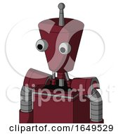 Red Droid With Cylinder Conic Head And Two Eyes And Single Antenna