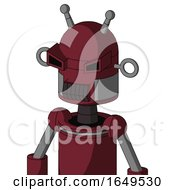 Red Droid With Dome Head And Dark Tooth Mouth And Angry Eyes And Double Antenna