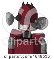 Red Droid With Dome Head And Teeth Mouth And Two Eyes And Three Dark Spikes
