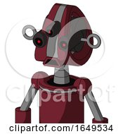 Red Droid With Droid Head And Sad Mouth And Three Eyed