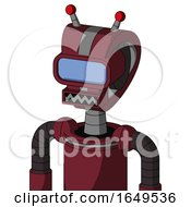 Red Droid With Droid Head And Square Mouth And Large Blue Visor Eye And Double Led Antenna
