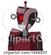 Red Droid With Droid Head And Teeth Mouth And Cyclops Eye And Single Led Antenna