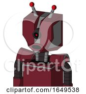 Red Droid With Mechanical Head And Round Mouth And Black Cyclops Eye And Double Led Antenna