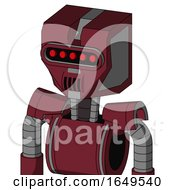 Red Droid With Mechanical Head And Speakers Mouth And Visor Eye