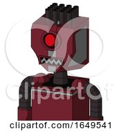 Red Droid With Mechanical Head And Square Mouth And Cyclops Eye And Pipe Hair