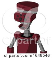 Red Droid With Vase Head And Happy Mouth And Bug Eyes
