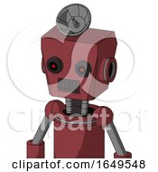 Red Mech With Box Head And Dark Tooth Mouth And Black Glowing Red Eyes And Radar Dish Hat