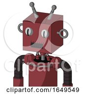 Red Mech With Box Head And Dark Tooth Mouth And Two Eyes And Double Antenna