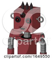 Red Mech With Box Head And Happy Mouth And Three Eyed And Three Dark Spikes