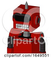 Red Mech With Box Head And Keyboard Mouth And Black Visor Eye And Spike Tip