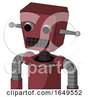 Red Mech With Box Head And Keyboard Mouth And Two Eyes