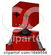 Red Mech With Box Head And Pipes Mouth And Plus Sign Eyes