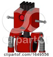Red Mech With Box Head And Sad Mouth And Cyclops Eye And Pipe Hair
