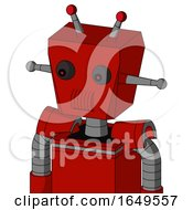 Red Mech With Box Head And Speakers Mouth And Red Eyed And Double Led Antenna