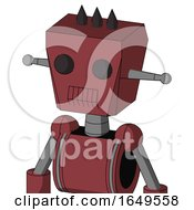 Red Mech With Box Head And Toothy Mouth And Two Eyes And Three Dark Spikes