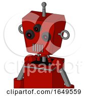 Red Mech With Box Head And Vent Mouth And Three Eyed And Single Antenna