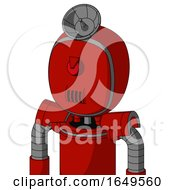 Red Mech With Bubble Head And Speakers Mouth And Angry Cyclops And Radar Dish Hat