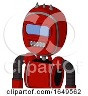 Red Mech With Bubble Head And Square Mouth And Large Blue Visor Eye And Three Spiked