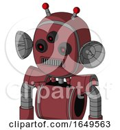 Red Mech With Bubble Head And Square Mouth And Three Eyed And Double Led Antenna