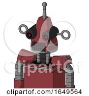 Red Mech With Cone Head And Dark Tooth Mouth And Black Glowing Red Eyes And Single Antenna